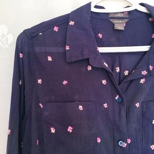Eddie Bauer navy blouse with pink flowers.